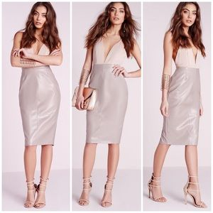 1f3758d6bc Missguided. Missguided Leather Seam Detail Midi Bodycon Skirt